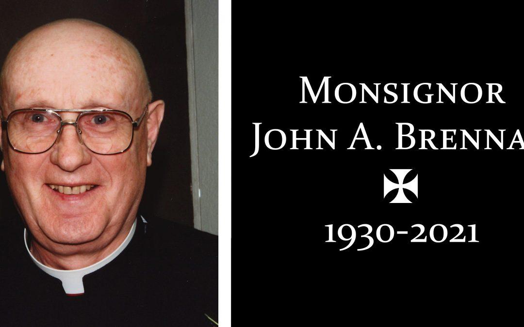 Msgr. John Brennan, One of Diocese's Original Priests, Dies at 91